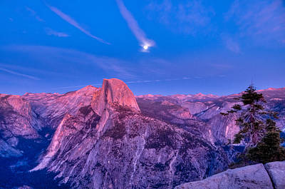 Half Dome Pink Sunset Full Moon Art Print by Connie Cooper-Edwards