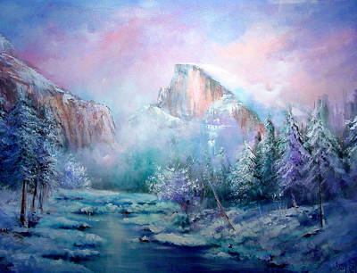 Half Dome Snow Art Print by Sally Seago