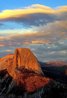 Half Dome Sunset Colorful Clouds Vertical Art Print