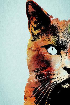 Watercolor Pet Portraits Photograph - Half Face Of A Cat by Mihaela Pater