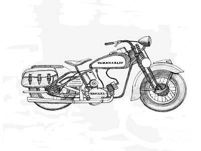 Disc Drawing - Half Hearted Harley by Stephen Brooks