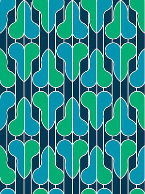 Half Hearts - Blue And Green Art Print by Soran Shangapour