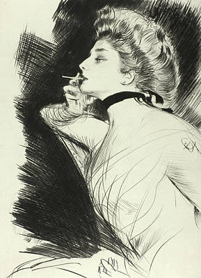 Printmaking Drawing - Half Length Portrait Of A Seated Woman, Smoking A Cigarette, Facing Left by Paul Helleu