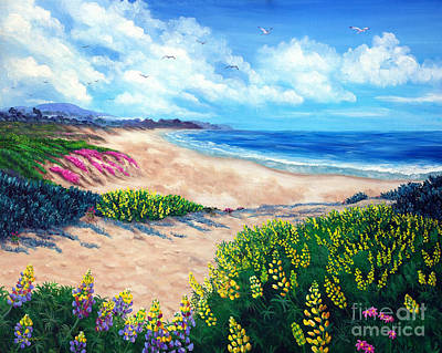 Lupine Painting - Half Moon Bay In Bloom by Laura Iverson