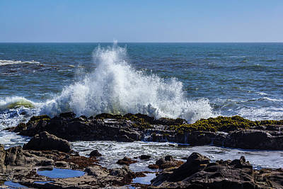 Photograph - Cal Coast Wave Crash 1 by Randy Bayne
