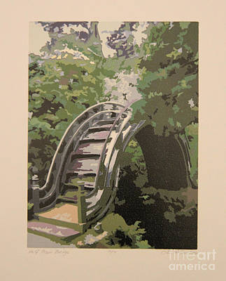 Reduction Lino-cut Drawing - Half Moon Bridge by Lori Hafner
