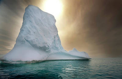 Iceberg Photograph - Half Moon Over Island by Michael Leggero