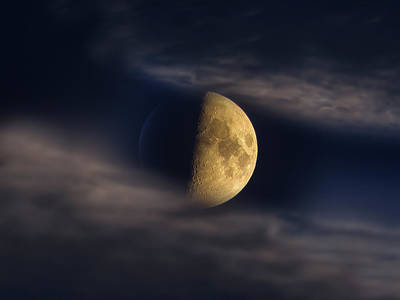 Photograph - Half Moon Seen Through Night Clouds by Alexey Kljatov