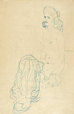 Drawing - Half Nude To The Left by Gustav Klimt