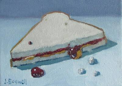 Half Pb And J With Crumbs Series 5 Art Print by Jennifer Boswell