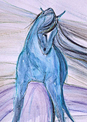 Sporthorse Mixed Media - Half Purple Half Blue by Jennifer Fosgate