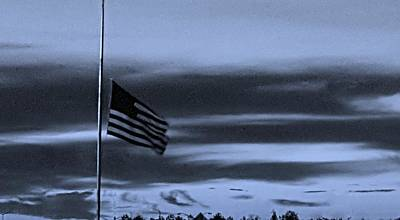 Photograph - Half Staff At Dawn In Cyan by Rob Hans