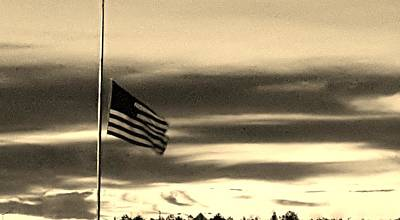 Photograph - Half Staff At Dawn In Sepia by Rob Hans