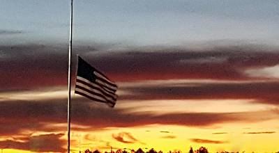 Photograph - Half Staff At Dawn  by Rob Hans