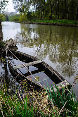 Photograph - Half Sunken Rowboat by Marco Oliveira