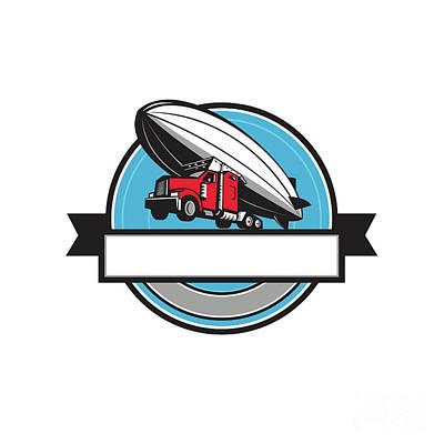 Half Zeppelin Blimp Half Semi-truck Flying Overhead Retro Art Print