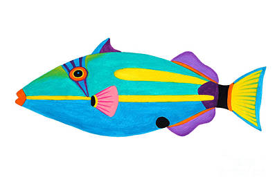 Triggerfish Painting - Halfmoon Triggerfish  by Opas Chotiphantawanon