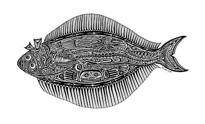 Alaska Drawing - Halibut by Carol Lynne