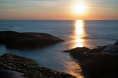 Photograph - Halibut Point State Park Sunset In Rockport Ma Bright Sun by Toby McGuire