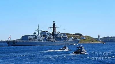 Halifax Nova Scotia Harbor With Naval Vessel Taking Part In Nato Exercises Print by John Malone