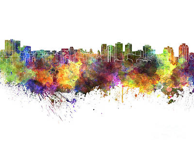 Halifax Skyline In Watercolor On White Background Art Print
