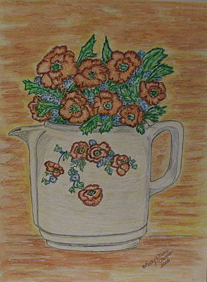 Art Print featuring the painting Hall China Orange Poppy And Poppies by Kathy Marrs Chandler