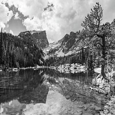 Photograph - Hallet Peak And Dream Lake Monochrome Reflections - Rocky Mountain National Park by Gregory Ballos