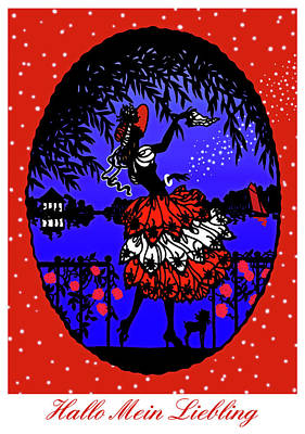 Goodbye Mixed Media - Hallo Mein Liebling - Vintage Illustration by Rayanda Arts