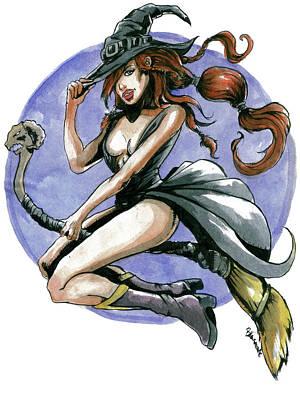 Painting - Halloween Witch by Bartek Blaszczec