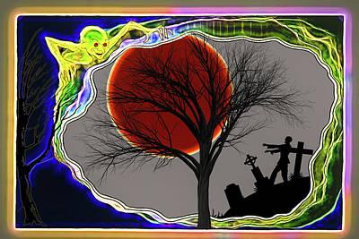 Digital Art - Halloween 17 Gremlins And Zombies by John Haldane