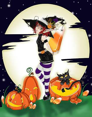 Candy Corn Digital Art - Trixi Candy Corn Halloween Witch by Alexandra Haley