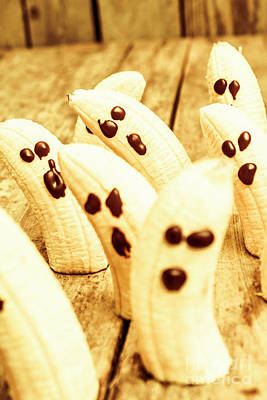 Halloween Banana Ghosts Art Print