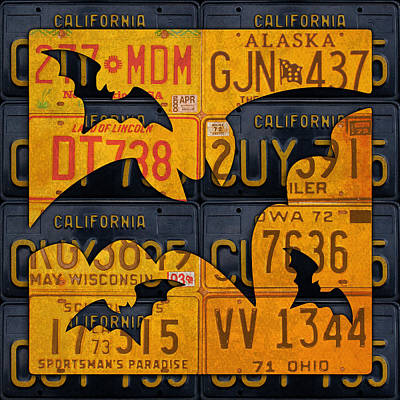 Bat Mixed Media - Halloween Bats Recycled Vintage License Plate Art by Design Turnpike