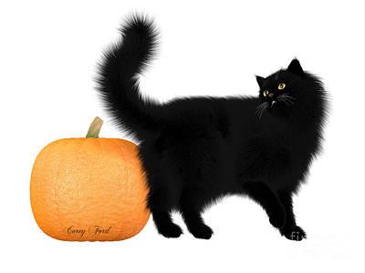 House Pet Digital Art - Halloween Black Cat And Pumpkin by Corey Ford