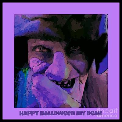 Halloween Card With Witch Original by John Malone