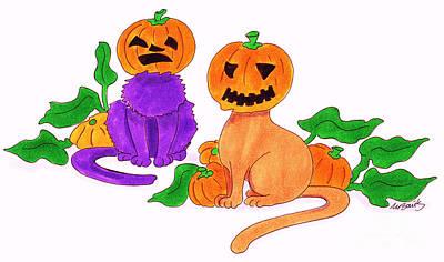 Caricature Drawing - Halloween Cats by Michaela Bautz