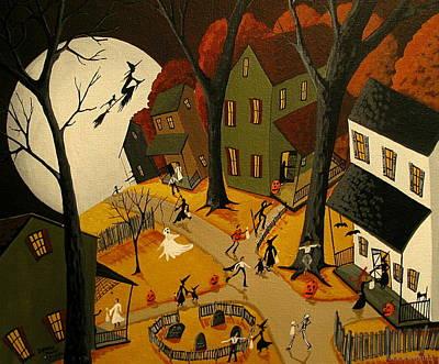 Halloween Eve - A Folkartmama Original - Primitive Folk Art Print by Debbie Criswell