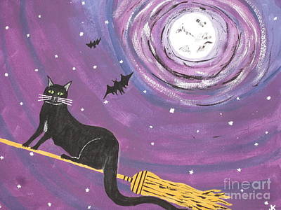Black Cat Painting - Halloween Flying  Black Cat by Jeffrey Koss