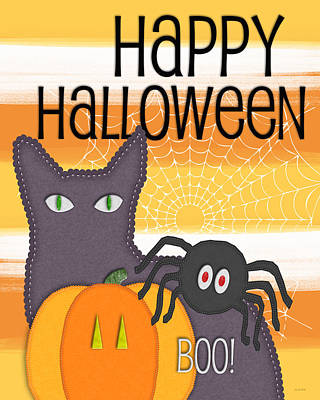 Halloween Friends- Art By Linda Woods Art Print by Linda Woods