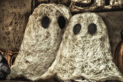 Booo Card Mixed Media - Halloween Ghosts Boo by Thomas Woolworth