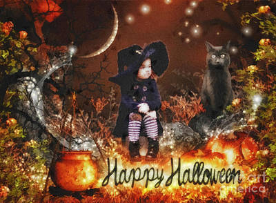 Spooky Card Mixed Media - Halloween Girl by Mo T