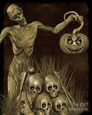 Digital Art - Halloween Graveyard-b by Jean Plout
