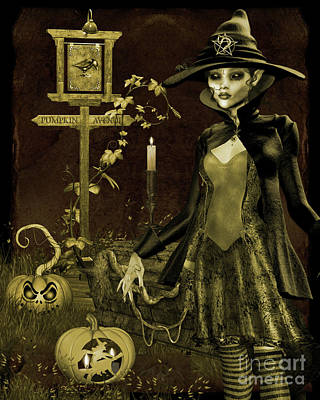 Digital Art - Halloween Graveyard-c by Jean Plout