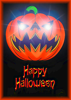 Lantern Digital Art - Halloween Greeting Card by Kenneth Krolikowski