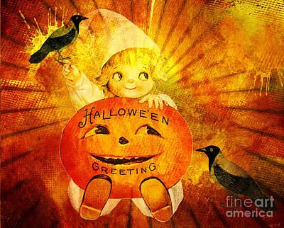Little Girl Mixed Media - Halloween Greetings by Tammera Malicki-Wong