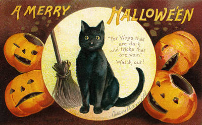 Pumpkin Drawing - Halloween Greetings With Black Cat And Carved Pumpkins by Ellen Hattie Clapsaddle
