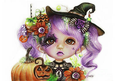 Fall Drawing - Halloween Hannah - Munchkinz Character  by Sheena Pike
