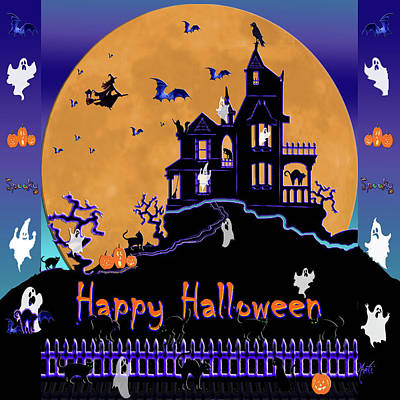 Digital Art - Halloween Haunted House by Michele Avanti