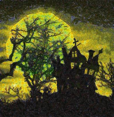 Pumpkins Painting - Halloween Haunted House by Sarah Kirk