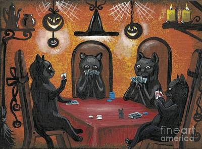 Five-o Painting - Halloween Hold Em by Margaryta Yermolayeva